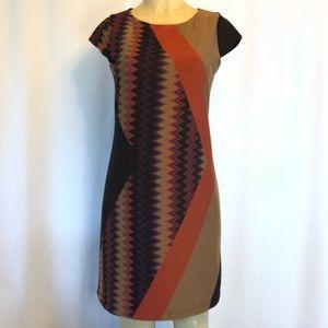Tiana B Sweater Knit Dress Brown/Orange 6